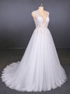 A Line Straps V Neck Lace Appliques Tulle Wedding Dresses Long Wedding Gowns XHMPST15034