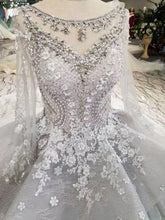 Load image into Gallery viewer, 2020 Silver Wedding Dresses Ball Gown Long Sleeves Royal Train Top Quality Lace With Applique & XHMPST14631