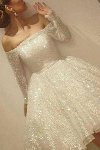 Noble Sparkle White Sequined Lace Prom Dress Sexy Off The Shoulder Long Sleeves Party XHMPST13064