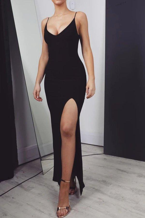 Sexy Black Mermaid Prom Dresses Long with Leg Slit Spaghetti Straps Evening Dresses XHMPST15330