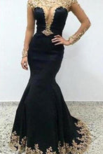 Load image into Gallery viewer, Sexy Black Lace Long Sleeves Long Mermaid Prom Dresses Evening XHMPST13536