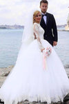 Elegant Ball Gown Lace Long Sleeve Wedding Dresses with Appliques Tulle White Bridal Dress XHMPST15156