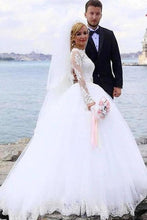 Load image into Gallery viewer, Elegant Ball Gown Lace Long Sleeve Wedding Dresses with Appliques Tulle White Bridal Dress XHMPST15156