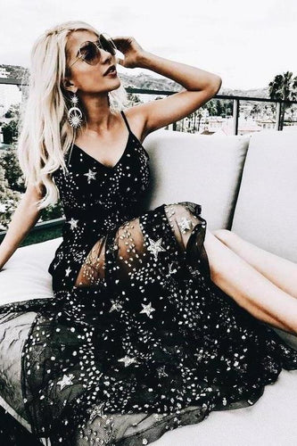 Sparkly V Neck Black Prom Dresses Spaghetti Straps A line Star Lace Long Party XHMPST14088
