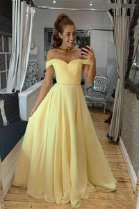 A Line Off the Shoulder Sweetheart Yellow Prom Dresses Long Formal Dresses XHMPST15551