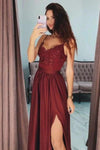 Sexy Slit Burgundy Spaghetti Straps Sweetheart Prom Dresses Long Prom Party XHMPST13695