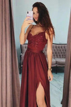 Load image into Gallery viewer, Sexy Slit Burgundy Spaghetti Straps Sweetheart Prom Dresses Long Prom Party XHMPST13695