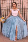 Two Piece Sky Blue Lace Thigh Split Off the Shoulder Prom Dresses with XHMPST14251