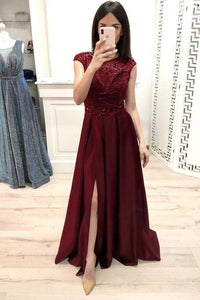 A Line Burgundy Cap Sleeve Prom Dresses Long Beading Slit Evening Party XHMPST10176
