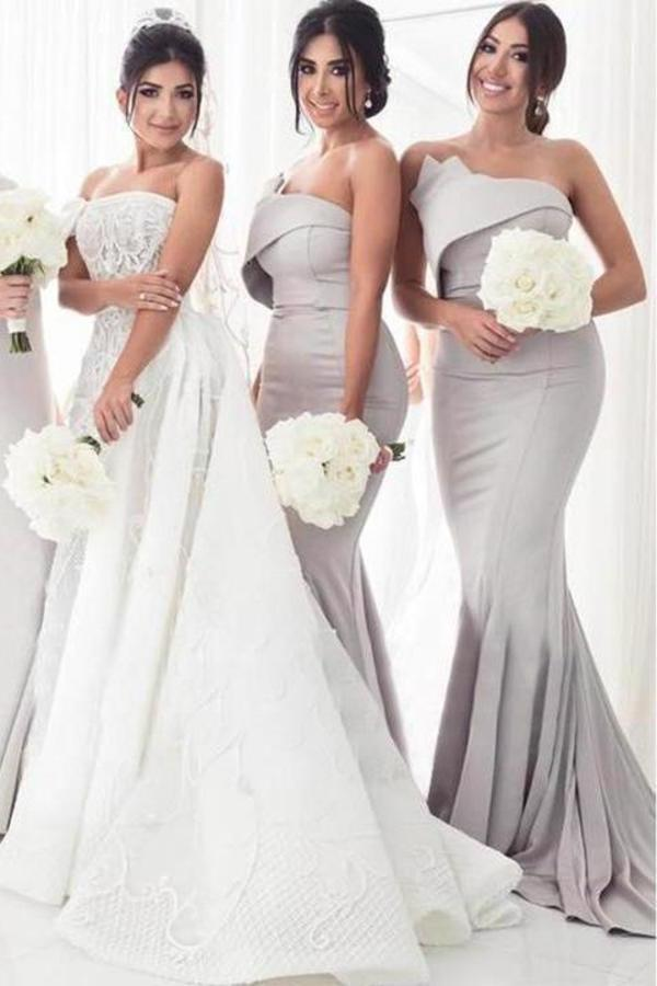 Strapless Silver Mermaid Elegant Long Sleeveless Prom Dresses Bridesmaid XHMPST14114