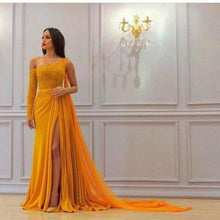 Load image into Gallery viewer, A Line Yellow One Long Sleeve Chiffon Prom Dresses High Slit Formal XHMPST10744
