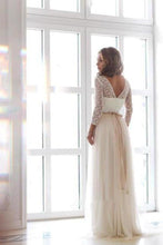 Load image into Gallery viewer, Scoop Neck Long Sleeve Tulle Wedding Dress With Lace Bodice V Back Wedding XHMPST13459