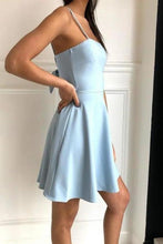 Load image into Gallery viewer, Simple Spaghetti Straps Light Blue Satin Homecoming Dresses Cute Short Prom XHMPST13954
