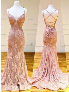 Mermaid Spaghetti Straps Pink Lace V Neck Beads Prom Dresses with XHMPST20426