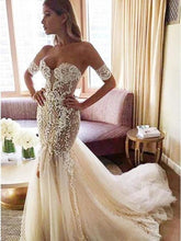 Load image into Gallery viewer, Charming Mermaid Sweetheart Backless Tulle Wedding Dresses with Lace Appliques XHMPST15111