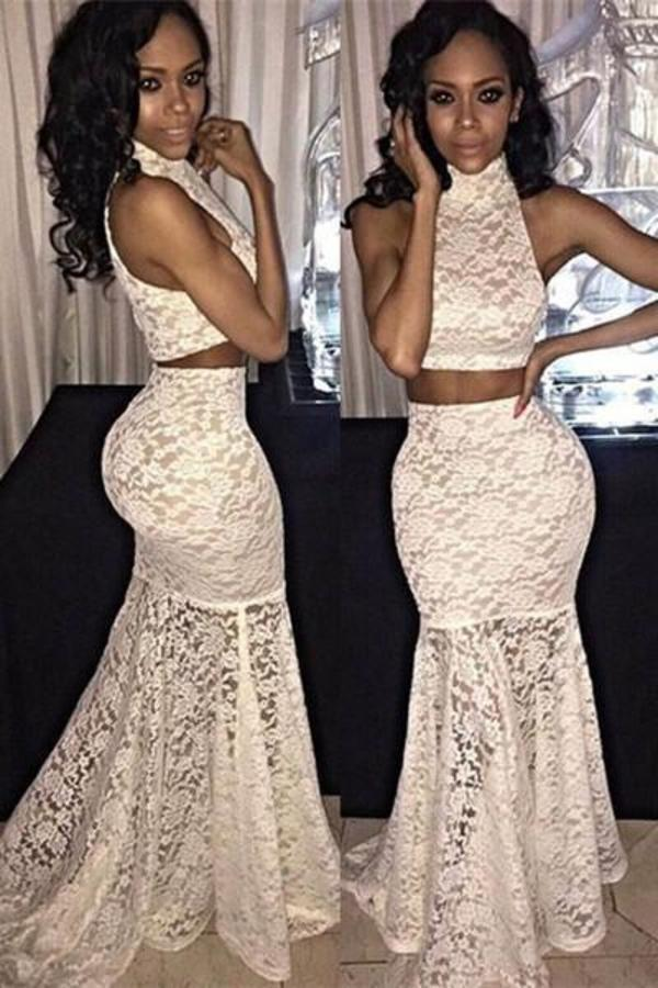 White lace two pieces floor length prom dress homecoming XHMPST14787