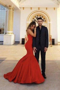 Red Chic Sweetheart Strapless Sleeveless Mermaid Satin Prom Dresses XHMPST14670