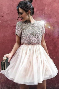 Sexy Two Piece Short Sleeve Homecoming Dress with Beads Round Neck Chiffon Prom XHMPST13720