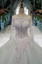Load image into Gallery viewer, Scoop Neckline Marvelous Wedding Dresses Lace Up With Rhinestones Royal XHMPST13461