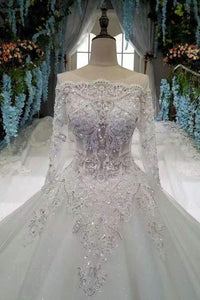 Scoop Neckline Marvelous Wedding Dresses Lace Up With Rhinestones Royal XHMPST13461