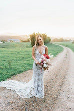 Load image into Gallery viewer, Rustic Lace Appliques V Neck Mermaid Wedding Dresses Long Bridal Dresses XHMPST15527