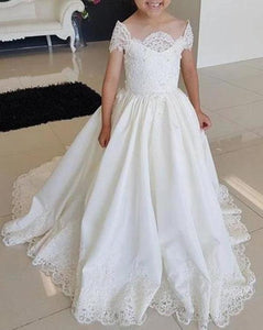 Lovely Cap Sleeves Appliques Ball Gown Little Flower Girl Dress Off the Shoulder Baby Dress XHMPST15257