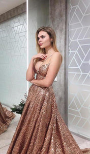 A Line Gold V Neck Sequin Long Prom Dress Long Cheap Evening XHMPST10259