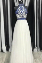 Load image into Gallery viewer, Unique A Line Halter White Tulle Prom Dresses Long Cheap Evening XHMPST14297
