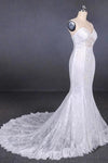 Charming Mermaid Spaghetti Straps Ivory Sweetheart Wedding Dresses with Applique XHMPST15109