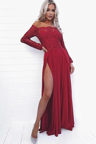 Sexy A Line Off the Shoulder Long Sleeve Dark Red Prom Dress with Lace High XHMPST13490