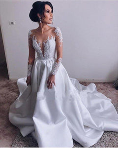 A Lin Ivory Long Sleeve Satin Lace Sweep Train Wedding Dresses Long Bridal XHMPST10120