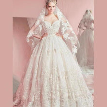 Load image into Gallery viewer, Sweetheart Ball Gown Sleeveless White Tulle Appliques Sweep Train Wedding XHMPST14168