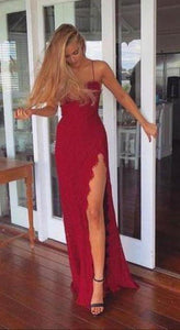 2020 A-Line Red Long Sheath Lace Spaghetti Straps Split Front Sweetheart Prom XHMPST10065
