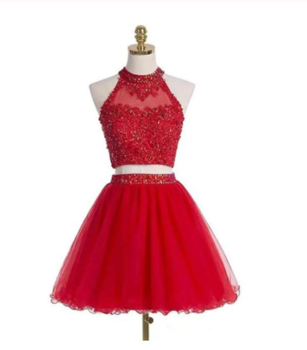 Two-piece Scoop Short Red Beaded Homecoming Dress with Appliques XHMPST14292
