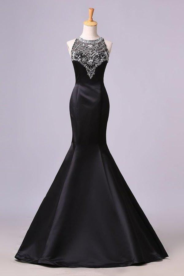 Sexy Black Mermaid Beads High Neck Satin Button Cheap Prom Dresses Party XHMPST13541