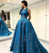 Vintage Lace Appliques Ball Gown Scoop Long Open Back with Pockets Prom XHMPST14459