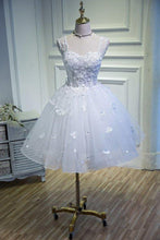 Load image into Gallery viewer, Simple Sweetheart White Lace up Beads Lace Appliques Tulle Straps Homecoming XHMPST13976