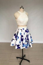 Load image into Gallery viewer, A Line Two Piece Ivory Jewel Floral Print Satin Short Homecoming Dress with Pearls XHMPST14847