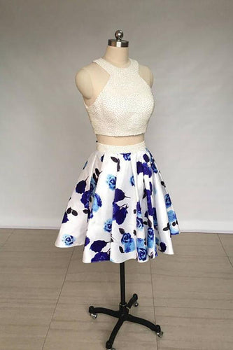 A Line Two Piece Ivory Jewel Floral Print Satin Short Homecoming Dress with Pearls XHMPST14847
