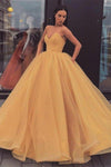 Sweetheart Strapless Yellow Long Modest Prom Gown Ball Gown Quinceanera Dresses XHMPST15441