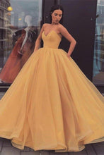 Load image into Gallery viewer, Sweetheart Strapless Yellow Long Modest Prom Gown Ball Gown Quinceanera Dresses XHMPST15441