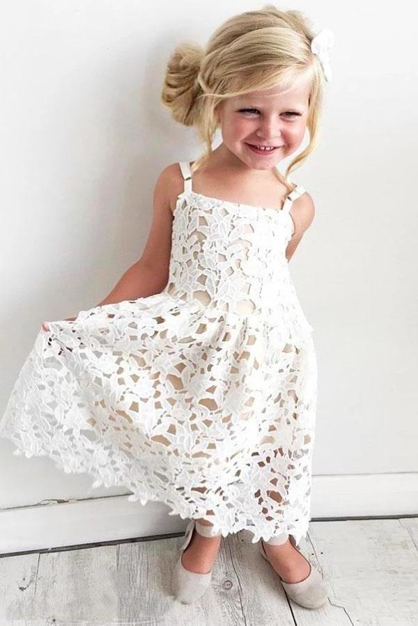 Cute Spaghetti Straps Lace Appliques Flower Girl Dresses Child Dresses XHMPST15137