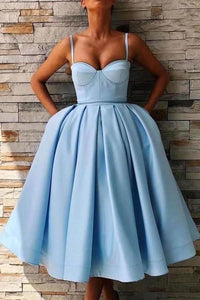 Simple Spaghetti Straps Blue Sweetheart Satin Short Homecoming Dresses with XHMPST13953