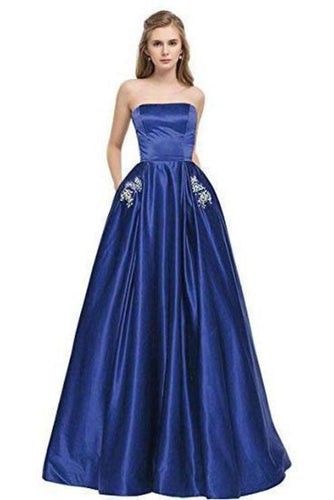 Simple Royal Blue Satin Strapless Beads Lace up Floor Length Prom Dresses with XHMPST13943