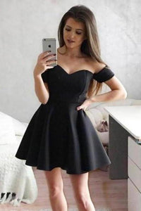 Simple Off the Shoulder Black Homecoming Dresses Sweetheart Satin Short Prom XHMPST13924