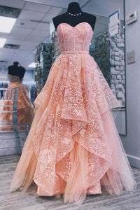 A line Pink Sweetheart Lace Appliques Prom Dresses with Tulle Cheap Party Dresses XHMPST14826
