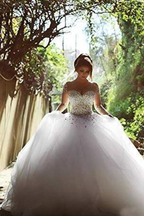 White Sheer Long Sleeves Beaded Sweetheart Crystals Ball Gown Corset Tulle Wedding XHMPST14520
