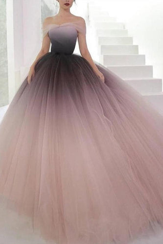 Off the Shoulder Ombre Prom Dresses Backless Tulle Sweetheart Quinceanera Dresses XHMPST13097