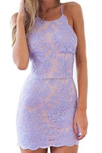 Load image into Gallery viewer, Sexy Sheath Lace Appliques Purple Criss Cross Scoop Above Knee Homecoming XHMPST13680