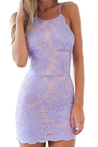 Sexy Sheath Lace Appliques Purple Criss Cross Scoop Above Knee Homecoming XHMPST13680